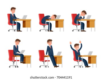 Businessman in suit working on laptop. The office worker sits at the desk. A man in the workplace sits, sleeps, bores, rejoices.