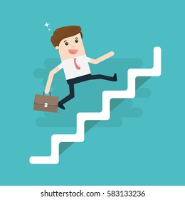 Businessman with suitcase climbing the stairs of success. Flat style