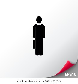 Businessman with suitcase icon