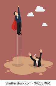 Businessman superhero gets away from puddle of quicksand. Business concept