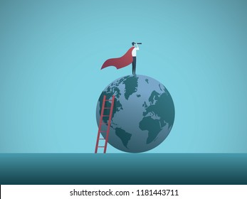 Businessman as superhero on top of the world business vector concept. Symbol of power, vision, leadership, strength, courage, ambition. Eps10 vector illustration.