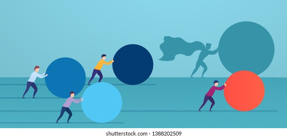 Businessman superhero pushes red sphere, overtaking competitors. Concept of winning strategy, business efficiency, leadership.