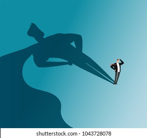 Businessman with superhero shadow. Ambition and business success vector concept. Leadership super hero in business, motivation leader superhero illustration