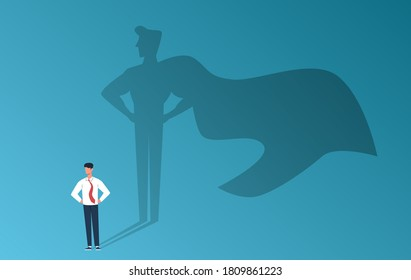 Businessman with superhero shadow. Leadership professional ambition, achievement and business success, strong man with inner leader potential, career motivation creative vector flat cartoon concept