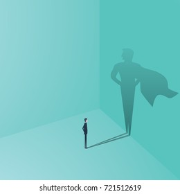 Businessman with superhero shadow vector concept. Business symbol of ambition, success, motivation, leadership, courage and challenge. Eps10 vector illustration.