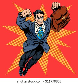 Businessman superhero work flight business concept retro style pop art. A grown man in a business suit. The image of bravery and courage. Retro style pop art