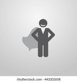 Businessman superman in a raincoat. Force. Ability. Gift.