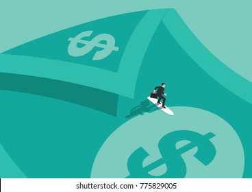 A businessman surfing on a bill that represents money, dollars, and has a wave shape