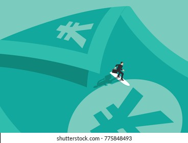 A businessman surfing on a bill that represents money, yens, and has a wave shape