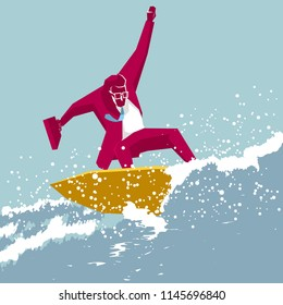Businessman surfing. Businessman in a red suit,the background is blue.