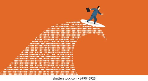 Businessman surfing a tsunami wave of computer data, EPS 8 vector illustration