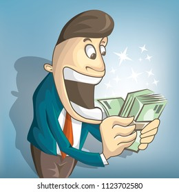 Businessman is surprised to see money in his hands. Let's make massive profit. Cartoon illustration style