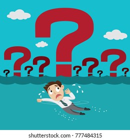 Businessman swimming in the sea of question mark, illustration vector cartoon
