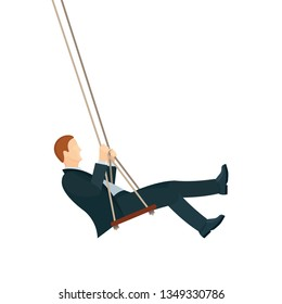 Businessman swinging. Man on swing vector illustration. Businessman sitting on a swing. Part of set.