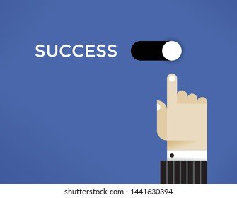 Businessman switch on abstract business success button. Concepts:  economics growth, investment, money making, successful company management and organization, education, coaching and mentoring etc.