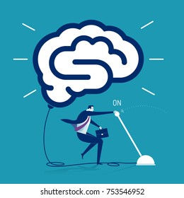 Businessman switching on symbol of a brain. Business concept vector illustration.