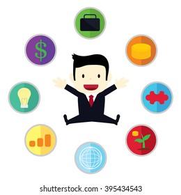 businessman with symbols of business around him