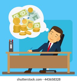 Businessman at the table dreaming about money vector illustration