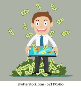 Businessman with tablet computer money income from the screen, vector illustration cartoon