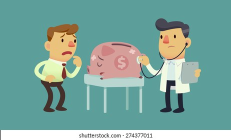 businessman take his sick piggy bank to the doctor