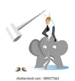Businessman take a sledgehammer on elephant to crack (break) a walnut (Nut) (Business concept cartoon illustration) hard working people
