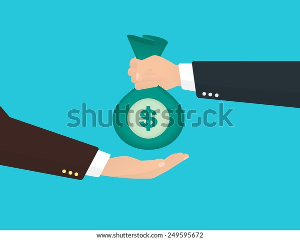 Businessman takes bag of money from another businessman