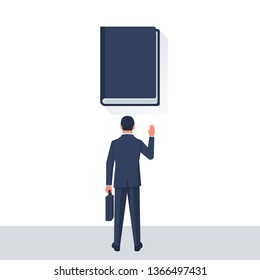 Businessman taking oath. An honest and reliable person takes an oath against the background of the Bible. Vector illustration flat design. Successful young man.
