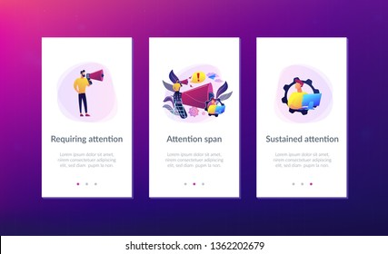 Businessman talk in megaphone with exclamation point. Draw attention, attention span and take note, requiring attention concept on white background. Mobile UI UX GUI template, app interface wireframe