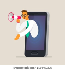 Businessman talking in a megaphone through the phone screen. The concept of digital marketing, advertising, selling goods and services over the Internet. Vector illustration in a flat style