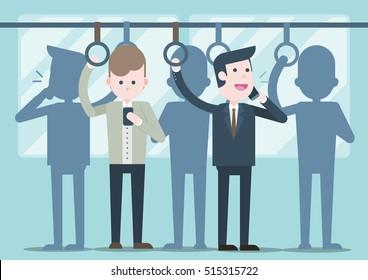 Businessman talking on a phone,  business people on public transport, Vector illustration.