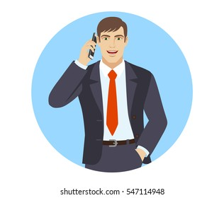 Businessman talking on the phone. Businessman holding hand in pocket. Portrait of businessman in a flat style. Vector illustration.