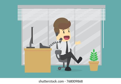 Businessman talking on the phone at the office Sitting At Desk In Office.Cartoon of business success is the concept of the man characters business,background, banner, infographic. illustration vector