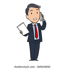 Businessman talking on the phone smiling telling good news or discussing a successful deal, holding paper, cartoon