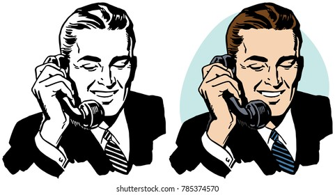 A businessman talking on a vintage telephone.