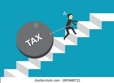 Businessman with tax and exhaustion, Vector illustration in flat style