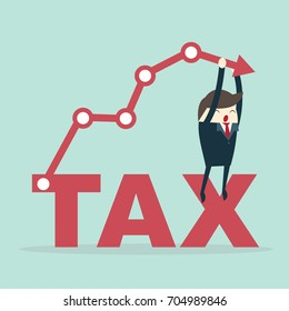 Businessman tax payment deduction. Business Concept vector Illustration.