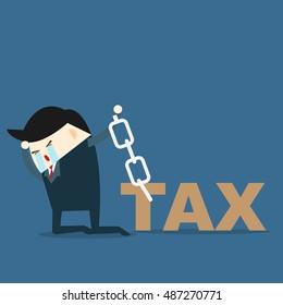 businessman tax payment deduction problem. Business Concept vector Illustration.