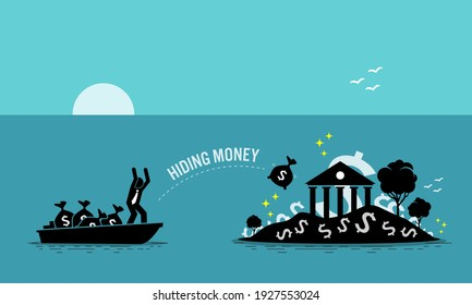Businessman taxpayer hiding money at tax haven island. Vector illustration concept of money laundering, embezzlement, offshore banking to avoid tax, tax evasion, business crime, and illegal income.