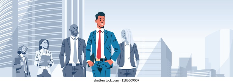 businessman team leader boss stand out business people group individual leadership concept male cartoon character portrait cityscape background horizontal banner flat vector illustration