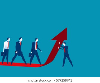 Businessman team moves up on the red arrow. Concept business illustration. Vector flat