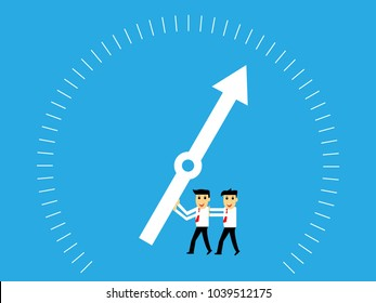 Businessman and team pushed the needle to make a profit,teamwork,business concept