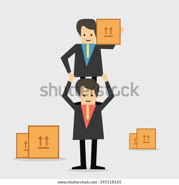 Businessman Teamwork and box Business concept, vector illustrator