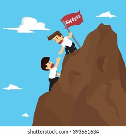 businessman teamwork overcome obstacles. vector