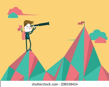 businessman with telescope finding next target. flat design. vector illustration