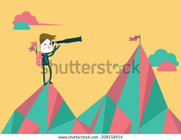 businessman with telescope finding next target. flat design. vector illustration