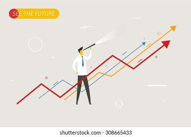 Businessman with telescope looking to the future. growth charts. Vector illustration Eps10 file. Success,  rates