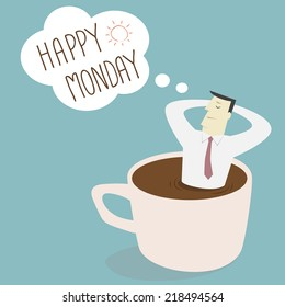 Businessman thinking happy Monday on a cup - Vector