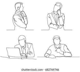 Businessman thinking linear design, continuous line art, Thoughtful man with laptop outline. Vector