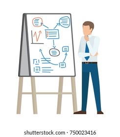 Businessman thinking on plan shown on interactive board, dressed in suit and blue tie, vector illustration isolated on white background