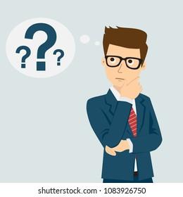Businessman thinking. Question mark. Vector illustration